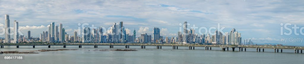 Panoramic view of Panama City skyline with skyscrapers and Cinta Costera (Coastal Beltway) - Panama City, Panama stock photo