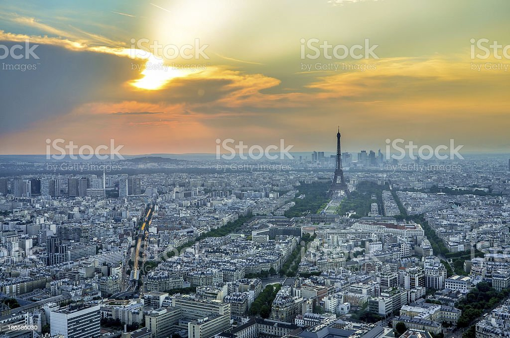 Panoramic View of Paris City with Eiffel Tower at Sunset stock photo