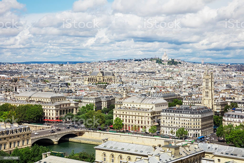 Panoramic view of Paris from Notre Dame Cathedral in Paris, France royalty-free stock photo