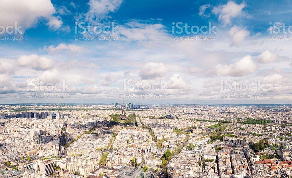 Panoramic view of Paris in springtime stock photo