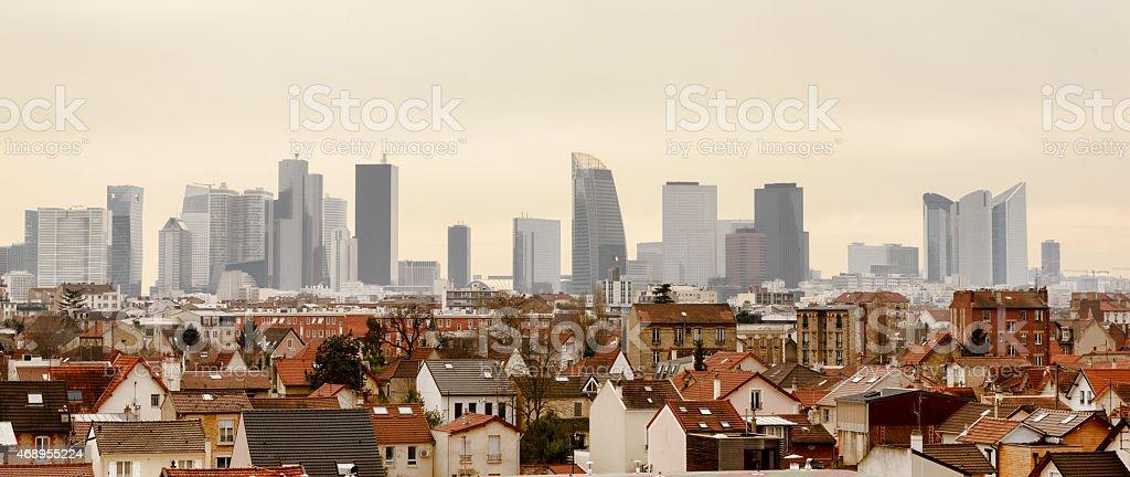 panoramic view of Paris la Defense stock photo