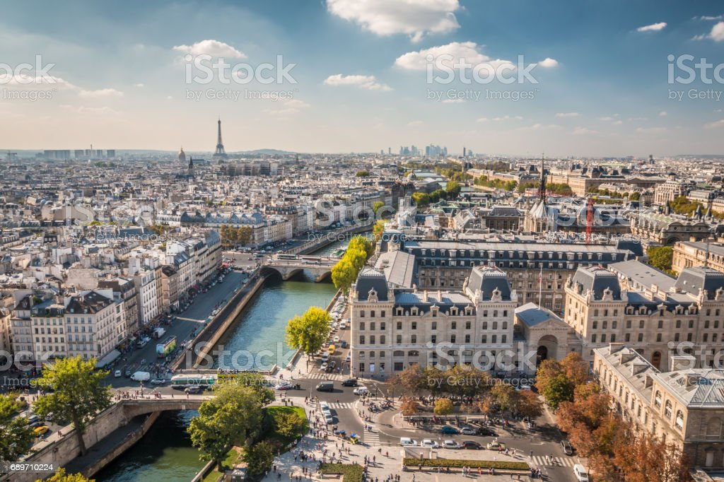 Panoramic view of Paris stock photo