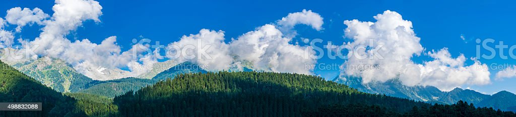 Panoramic view of peaceful Himalaya peaks. Ultra high resolution stock photo