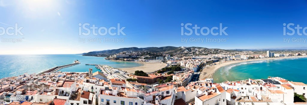 Panoramic view of Peñiscola, Spain stock photo