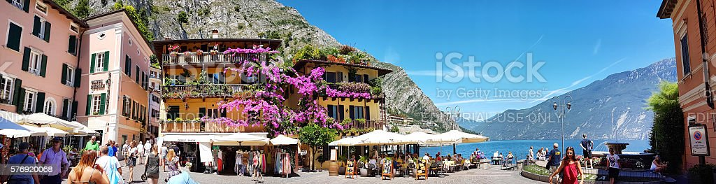 Panoramic view of Piazza Garibaldi - Limone del Garda stock photo