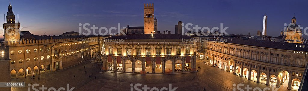 panoramic view of piazza maggiore - bologna stock photo