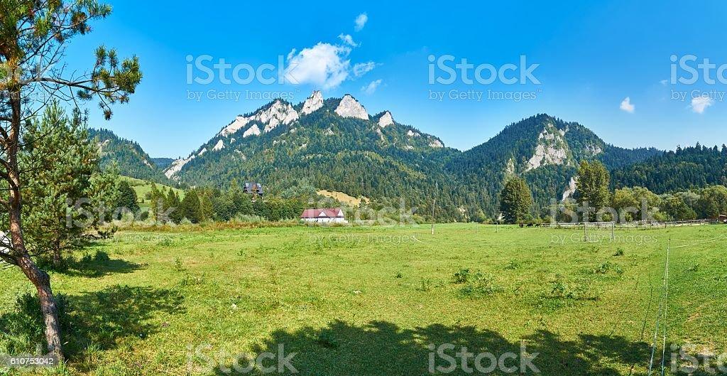 Panoramic view of Pieniny National Park, on Trzy Korony, Poland stock photo