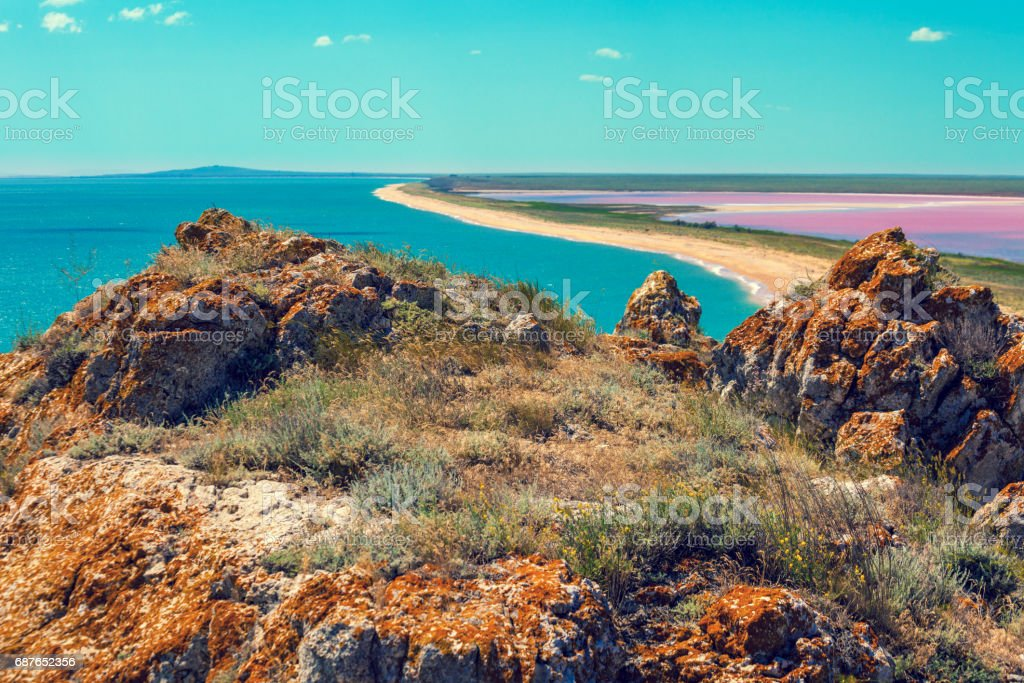 Panoramic view of Pink lake and sea. View from mountain, top view stock photo