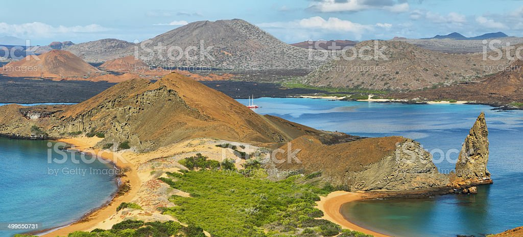 Panoramic view of pinnacle Rock and surroundings in Bartolome stock photo