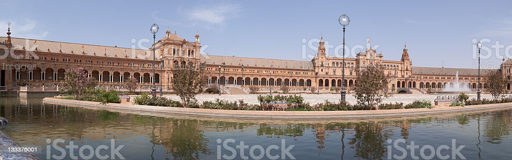 Panoramic view of Plaza de Espana in Seville stock photo