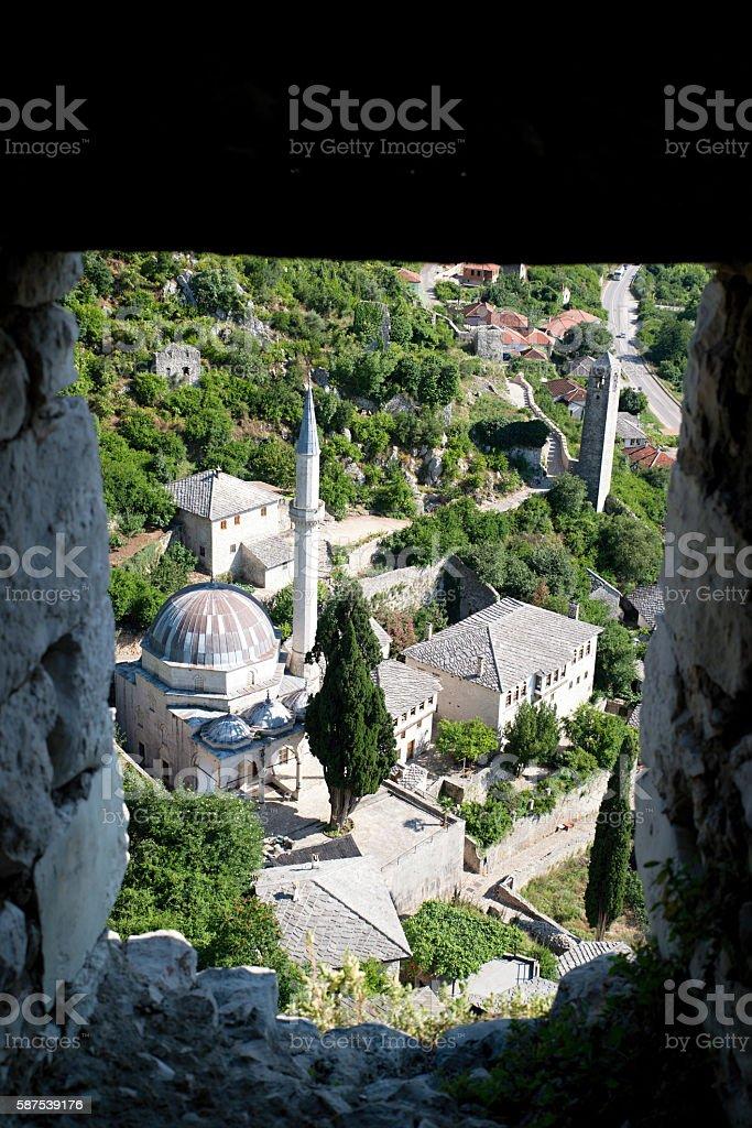 Panoramic view of Pocitelj, medieval city in Bosnia and Hercegovina stock photo