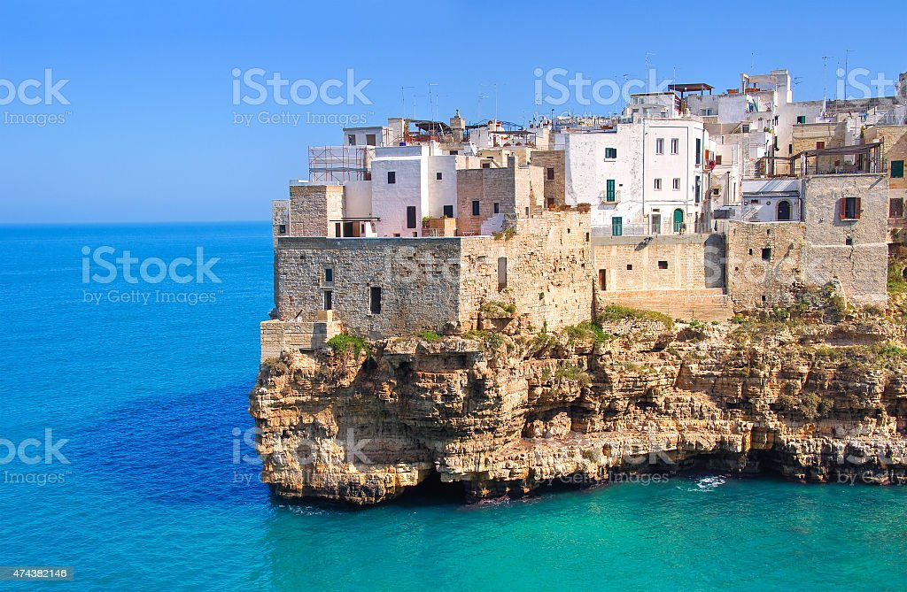 Panoramic view of Polignano. Puglia. Italy. stock photo