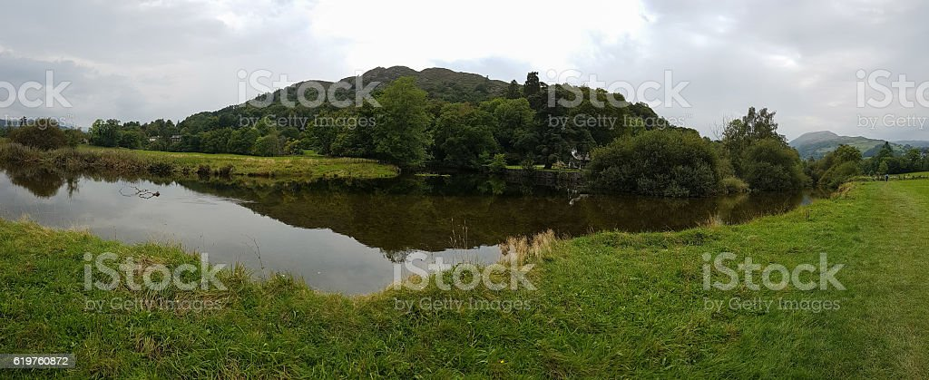 Panoramic view of pond in Ambleside countryside, Cumbria, UK stock photo