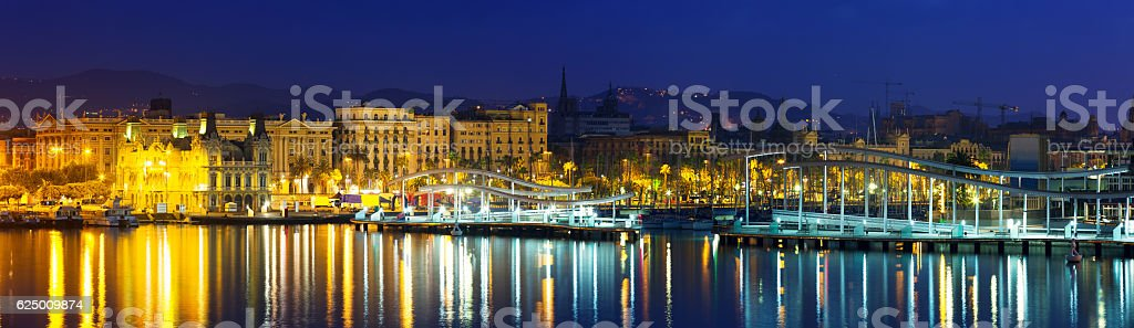 panoramic view of  Port Vell during morning. Barcelona stock photo