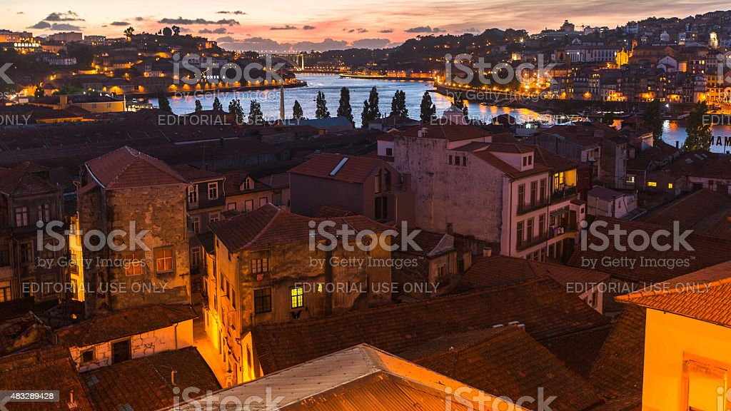 Panoramic view of Porto at night time. stock photo