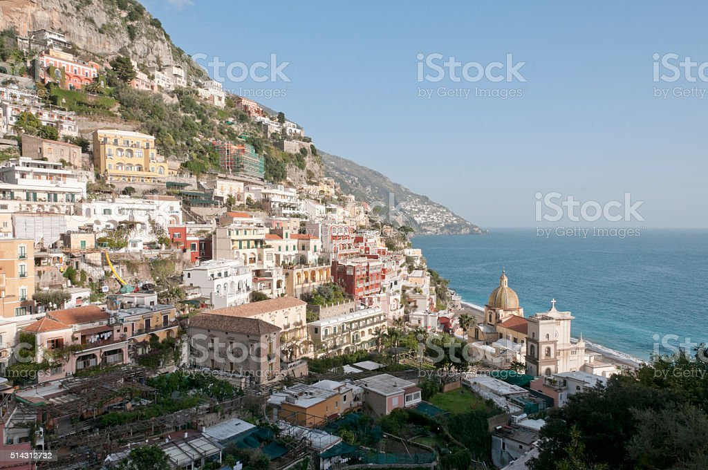Panoramic view of Positano on the Amalfi Coast stock photo
