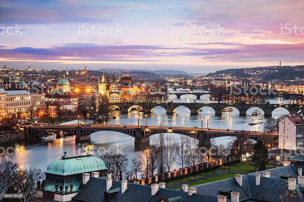 Panoramic view of Prague at night stock photo