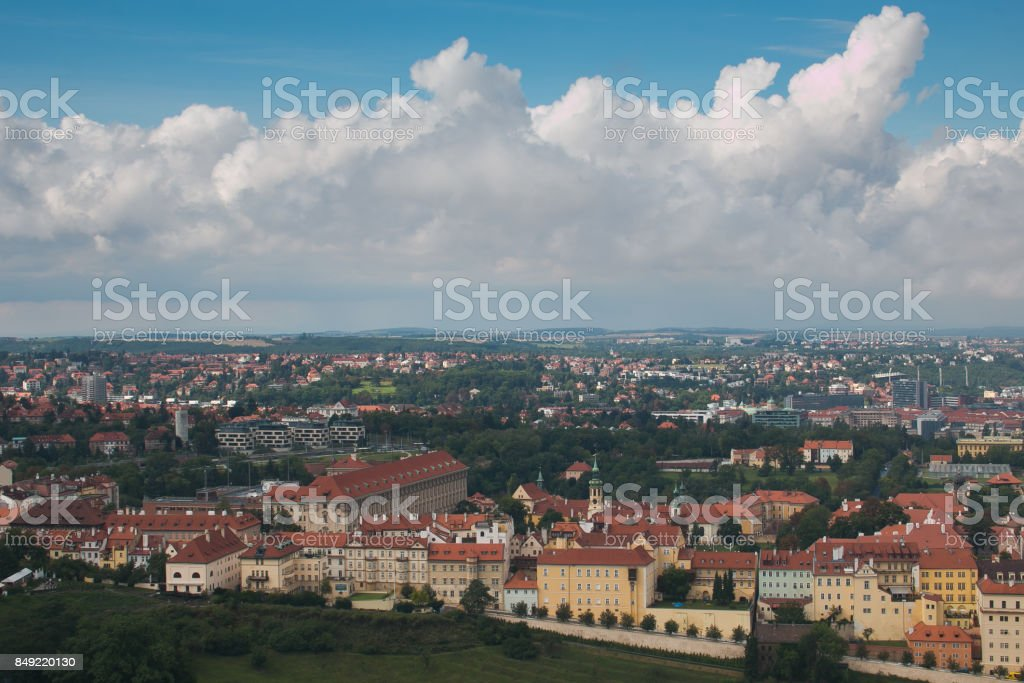 Panoramic view of Prague city on summer day stock photo