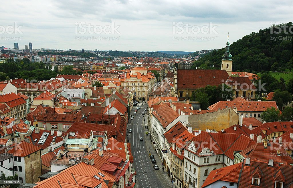 Panoramic view of Prague stock photo