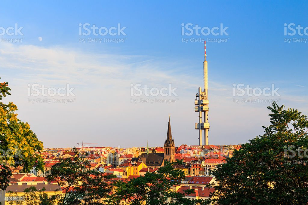 Panoramic view of Prague with red roofs stock photo