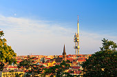 Panoramic view of Prague with red roofs