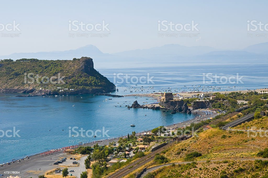 Panoramic view of Praia a Mare. Calabria. Italy. stock photo