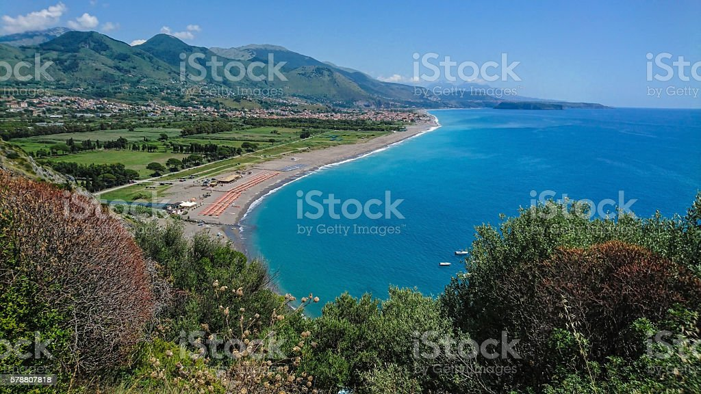 Panoramic view of Praia a Mare stock photo