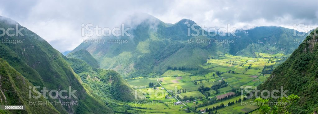 Panoramic View of Pululahua Dormant Volcano North of Quito, Pichincha Province stock photo