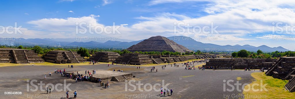 TEOTIHUACAN, MEXICO - 28 DECEMBER 2015: Panoramic view of Pyrami stock photo