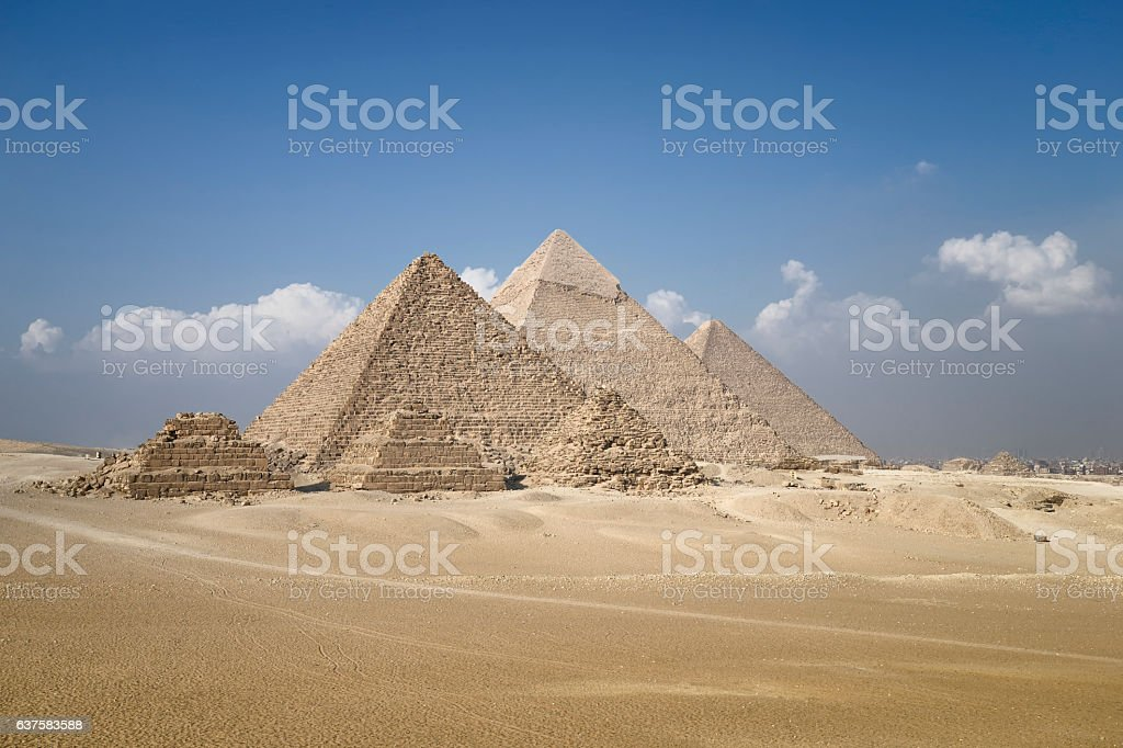 Panoramic view of pyramids from the Giza Plateau stock photo