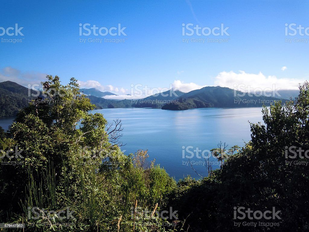 Panoramic view of Queen Charlotte Sound stock photo