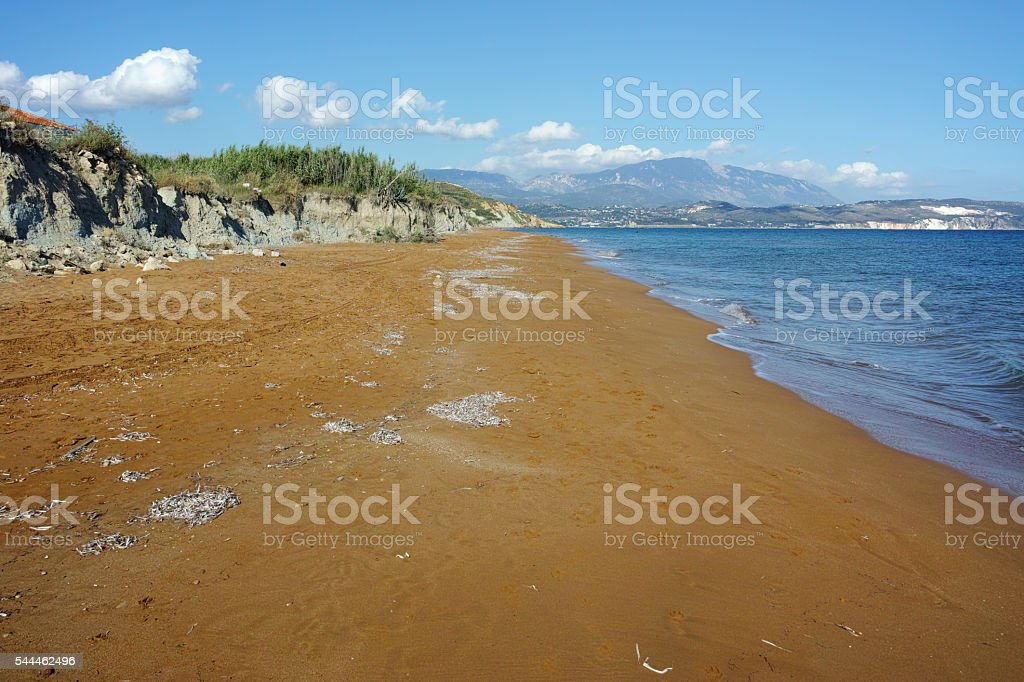Panoramic view of Red sands of xsi beach, Kefalonia, Greece stock photo