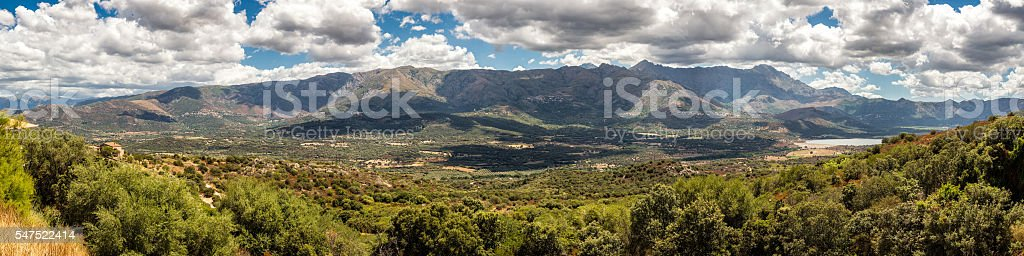 Panoramic view of Regino valley in Balagne region of Corsica stock photo