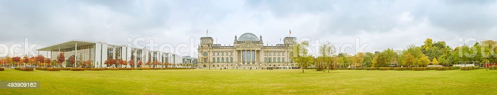Panoramic view of Reichstag with tourists stock photo