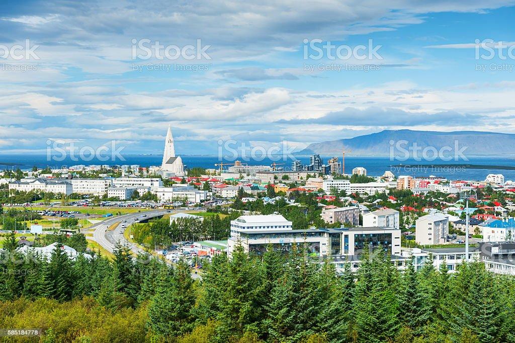 Panoramic view of Reykjavik, Iceland stock photo