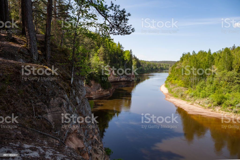 Panoramic view of river Gauja turn from path on the hill. Gauja National park, Latvia. stock photo