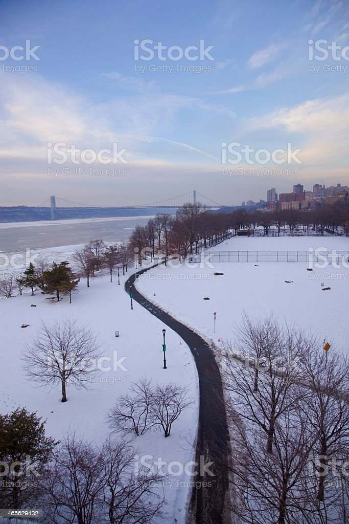 panoramic view of riverside park stock photo
