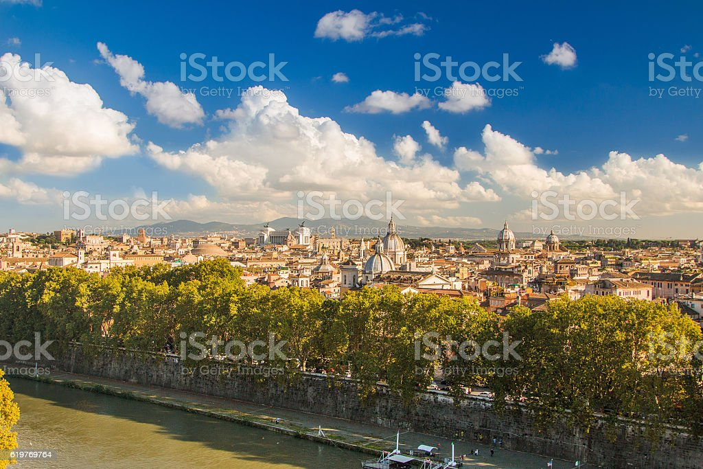 Panoramic view of Rome from Castel Sant'Angelo, Italy. stock photo