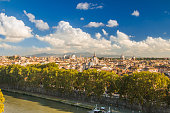 Panoramic view of Rome from Castel Sant'Angelo, Italy.