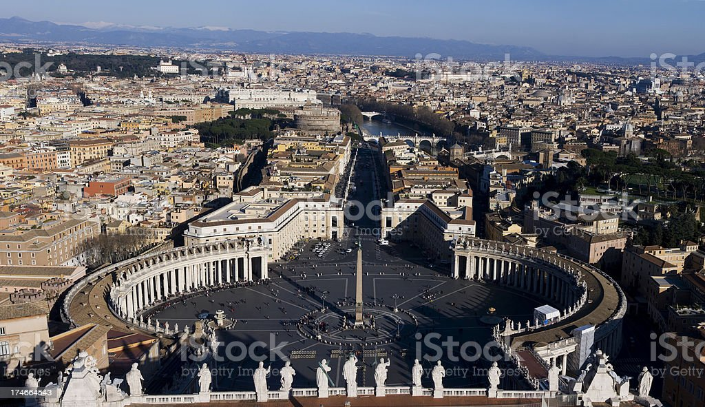 Panoramic view of Rome from the St. Peter's Basilica stock photo