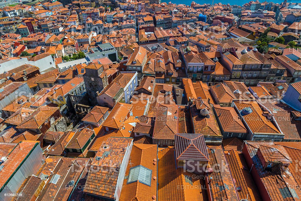 Panoramic view of rooftops and historical buildings in old Porto stock photo