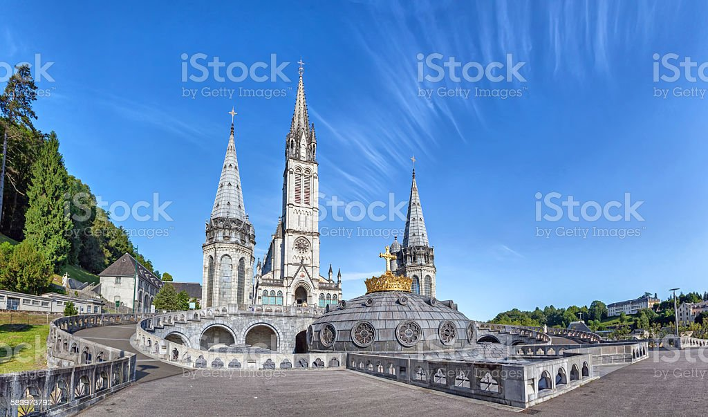 Panoramic view of Rosary Basilica in Lourdes stock photo