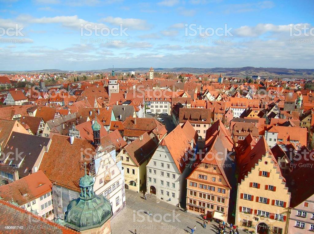 panoramic view of rothenburg stock photo