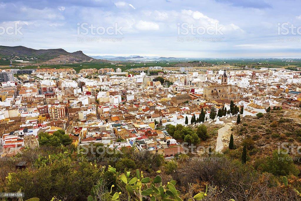 Panoramic view of Sagunto.   Spain stock photo