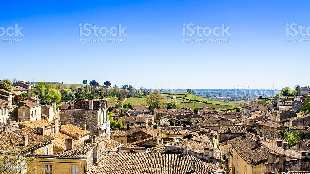 panoramic view of Saint-Emilion near Bordeaux, France stock photo