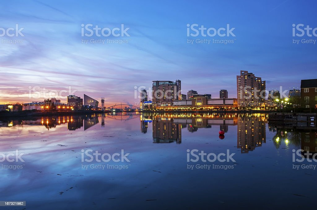 panoramic view of salford quays stock photo