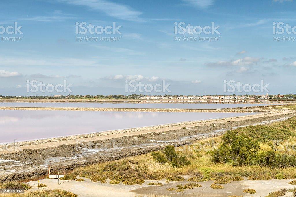 Panoramic view of Saline Drip - Salin de Giraud stock photo