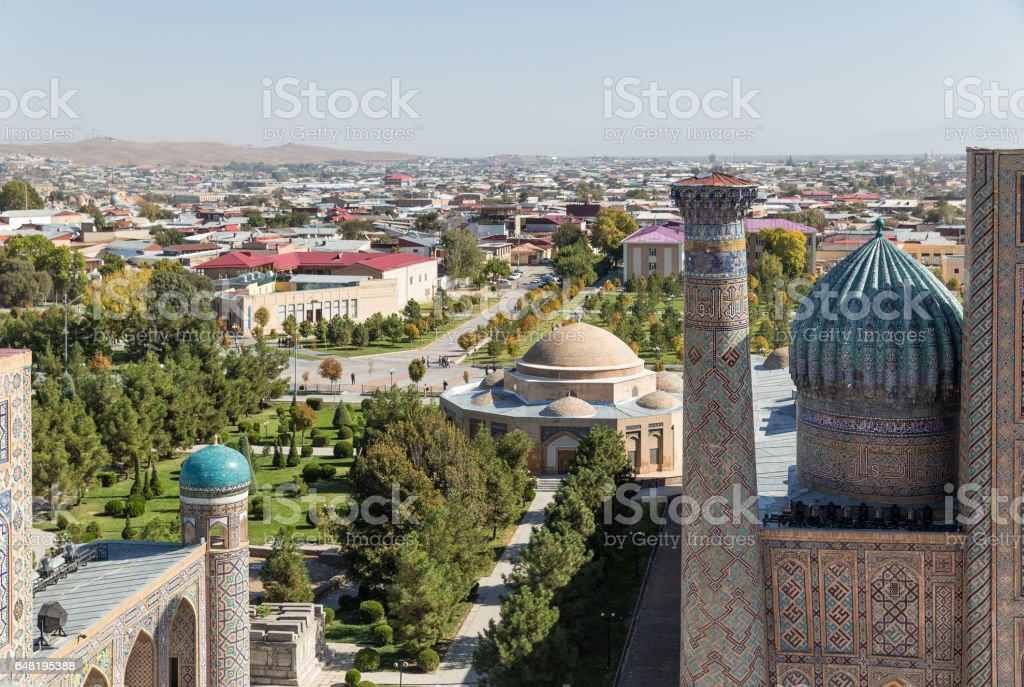 Panoramic view of Samarkand stock photo
