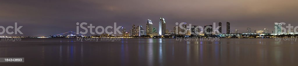 Panoramic View of San Diego at Night royalty-free stock photo