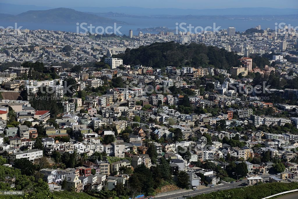 Panoramic View Of San Francisco From Atop of Twin Peaks. stock photo
